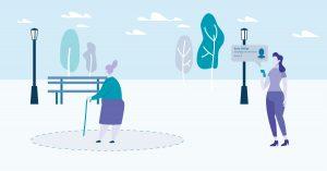 Zorgtechnologie dementerende ouderen illustratie